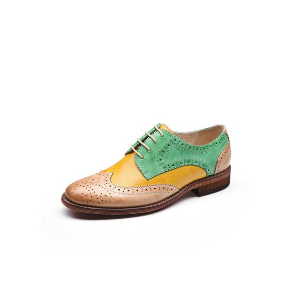 Yellow and Green Stitching Color Round Toe Vintage Lace-up Flat Women's Oxfords image 1