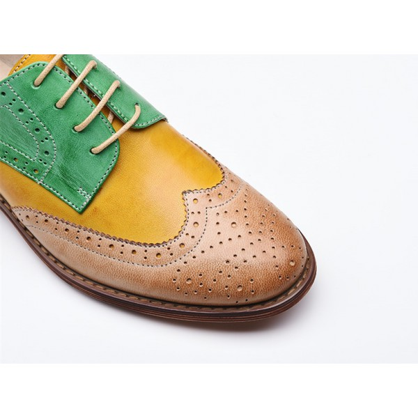 Yellow and Green Stitching Color Round Toe Vintage Lace-up Flat Women's Oxfords image 2