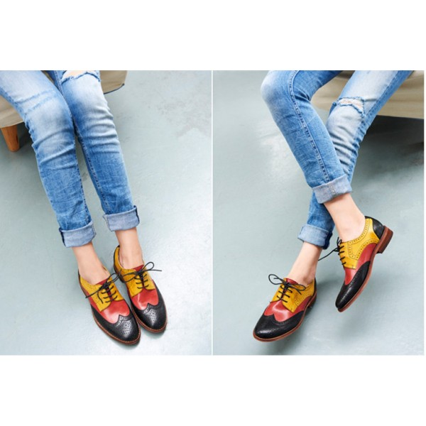 Women's Oxfords Black and Yellow Stitching Color Vintage Flat image 3
