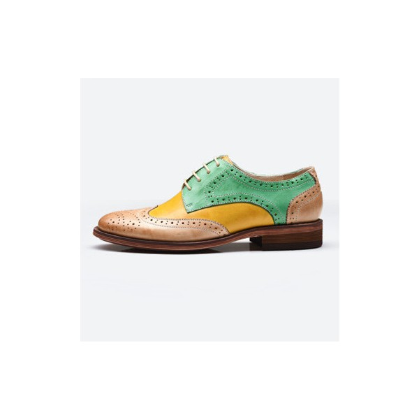 Yellow and Green Stitching Color Round Toe Vintage Lace-up Flat Women's Oxfords image 3
