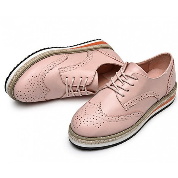 Pink Wingtip Shoes Lace up Round Toe Vintage Women's Oxfords image 1