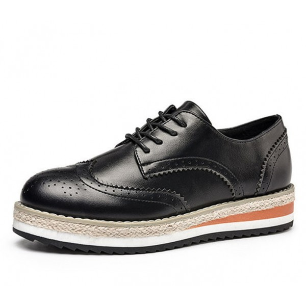 Women's Oxfords Leila Black Round Toe Vintage Shoes Lace-up Flat image 1