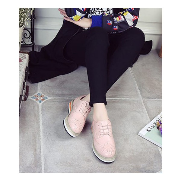 Pink Wingtip Shoes Lace up Round Toe Vintage Women's Oxfords image 2