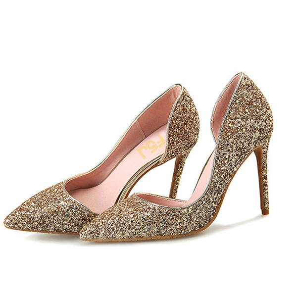 Women's Golden Glitter Stiletto Heels Wedding Shoes Bridal Heels D'orsay Pumps  image 1
