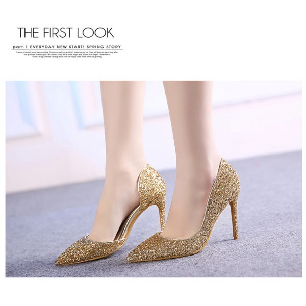 Women's Golden Glitter Stiletto Heel Pumps Bridal Heels image 2