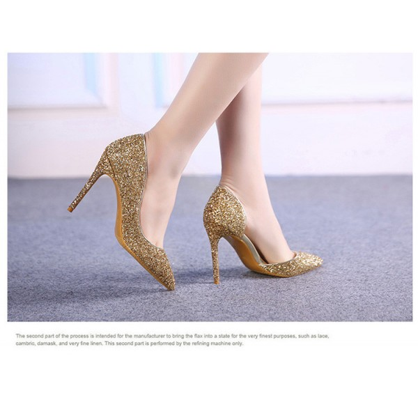 Women's Golden Glitter Stiletto Heels Wedding Shoes Bridal Heels D'orsay Pumps  image 3