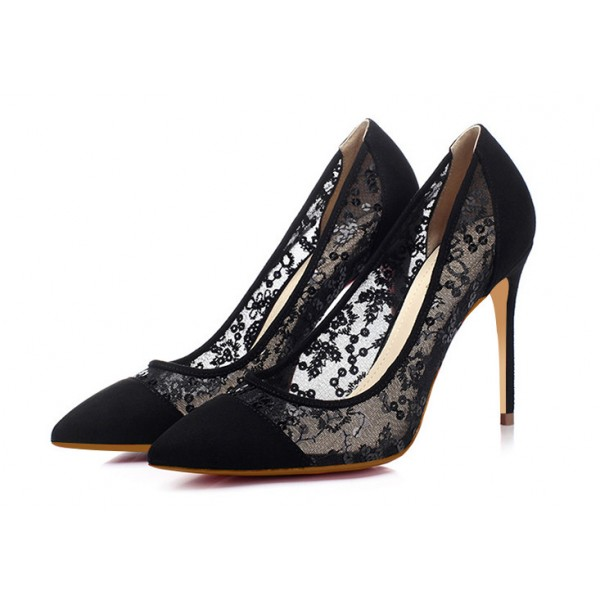 Black Lace Heels Pointy Toe Stilettos Pumps for Women image 1