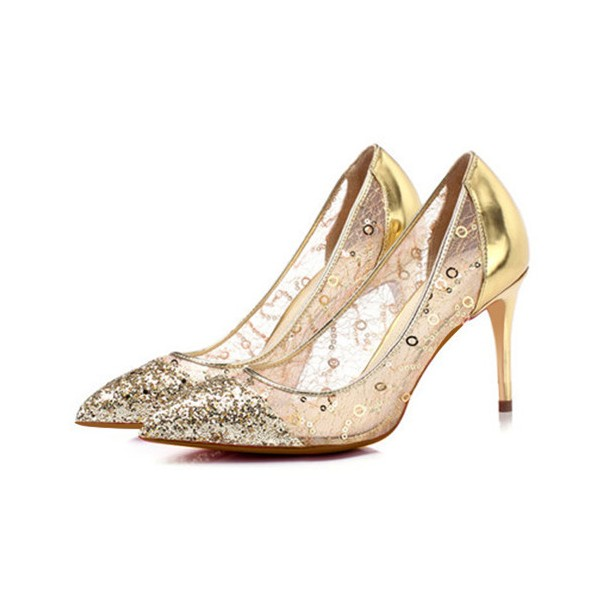 Gold Glitter and Sequined Evening Shoes Stiletto Heel Pumps for Party image 1