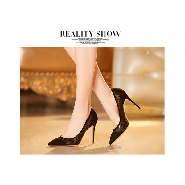 Black Lace Heels Pointy Toe Stilettos Pumps for Women image 2