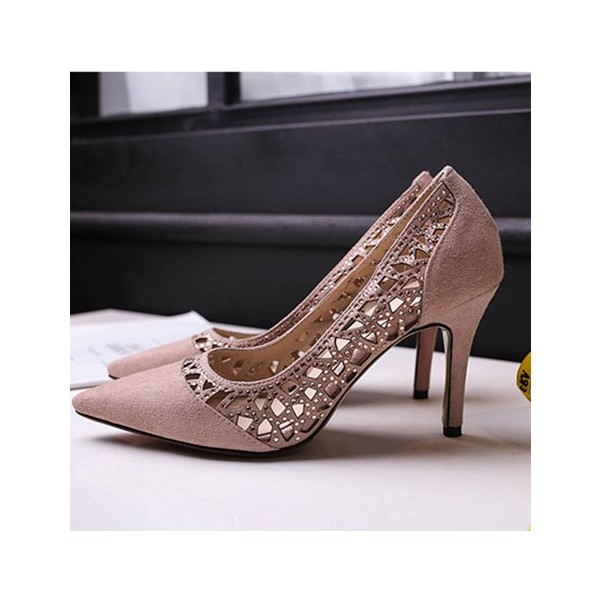 Light Pink 3 Inch Heels Hollow out Stilettos Suede Pumps image 1