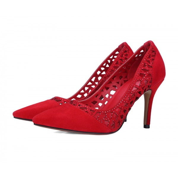 Red 3 Inch Heels Rhinestone Laser Cut Pointy Toe Suede Pumps image 1