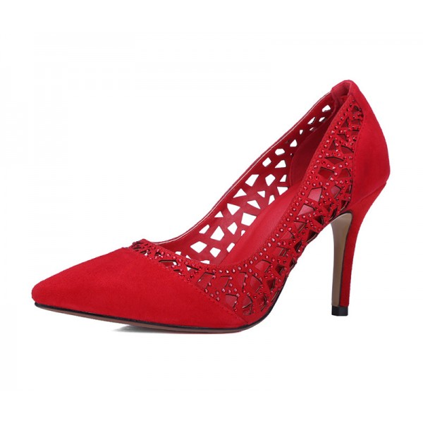 Red 3 Inch Heels Rhinestone Laser Cut Pointy Toe Suede Pumps image 2