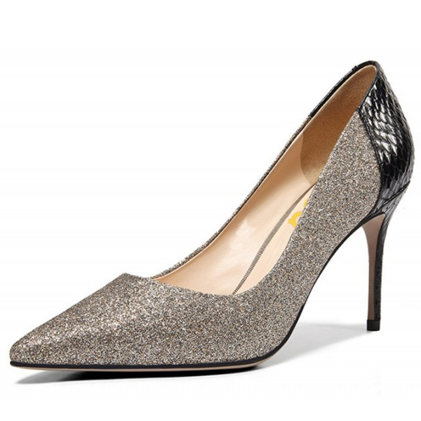 Grey Glitter and Black Python Office Heels Pointy Toe Pumps image 2