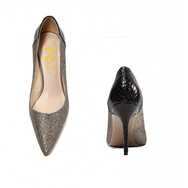 Grey Glitter and Black Python Office Heels Pointy Toe Pumps image 4