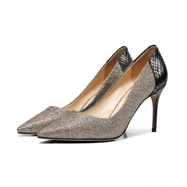 Grey Glitter and Black Python Office Heels Pointy Toe Pumps image 3