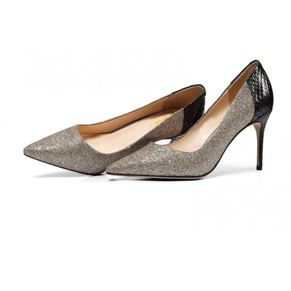 Grey Glitter and Black Python Office Heels Pointy Toe Pumps image 1