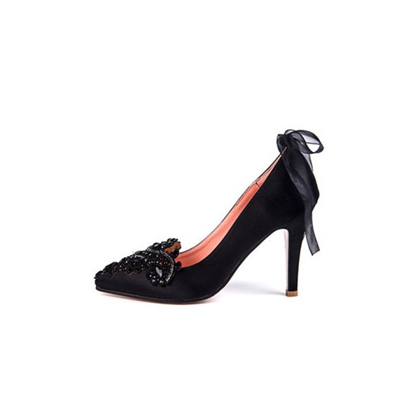 Black Evening Shoes Satin Rhinestone Pointy Toe Pumps with Bow image 1