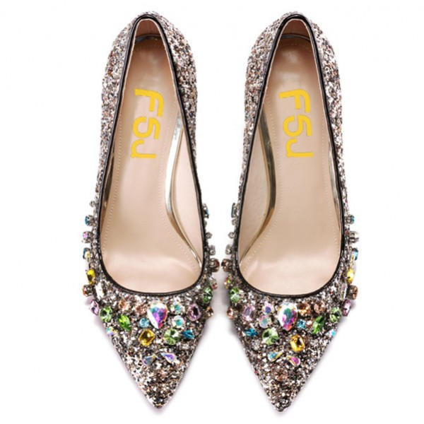 Women's Silver Glitter Colorful  Rhinestone Stiletto Heels Bridal Shoes  image 2