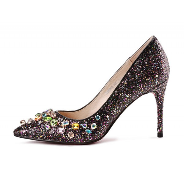 Rhinestone Sparking Heels Glitter Stiletto Heel Pumps Evening Shoes image 2
