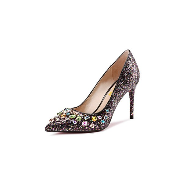 Rhinestone Sparking Heels Glitter Stiletto Heel Pumps Evening Shoes image 3