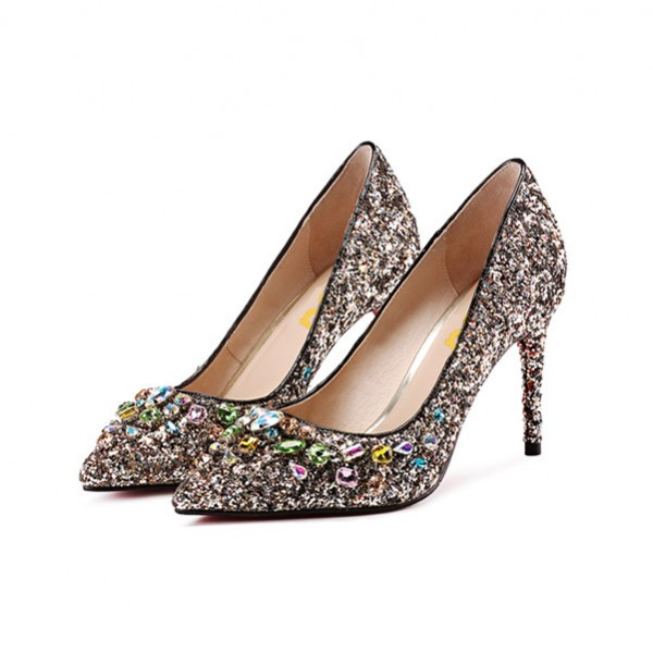6593e0a72308 Women s Silver Glitter Colorful Rhinestone Stiletto Heels Bridal Shoes  image ...