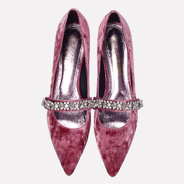 Pink Velvet Heels Vintage Mary Jane Pumps with Rhinestones image 2