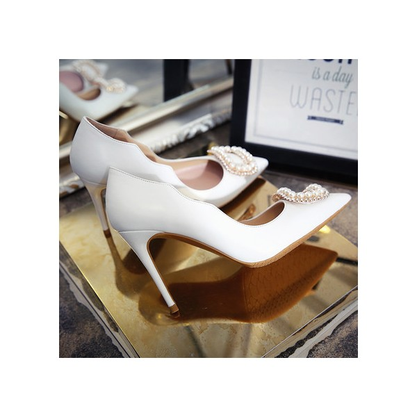 White Bridal Heels Rhinestone Pointy Toe Pumps Stiletto Heels for Wedding image 4