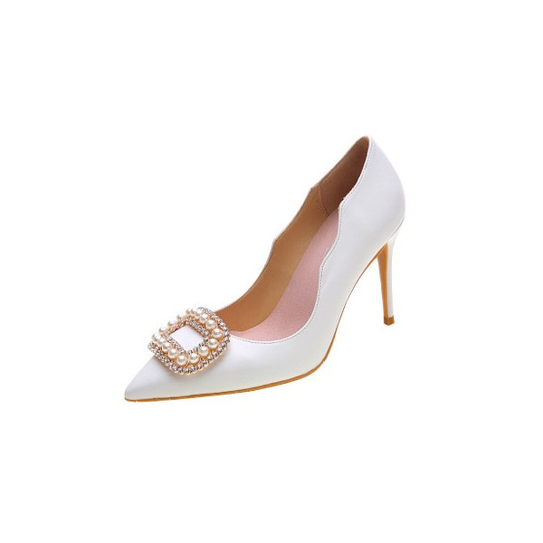 White Bridal Heels Rhinestone Pointy Toe Pumps Stiletto Heels for Wedding image 1