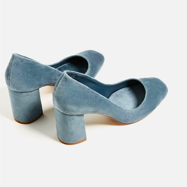 Blue Chunky Heels Suede Square Toe Pumps for Female image 3