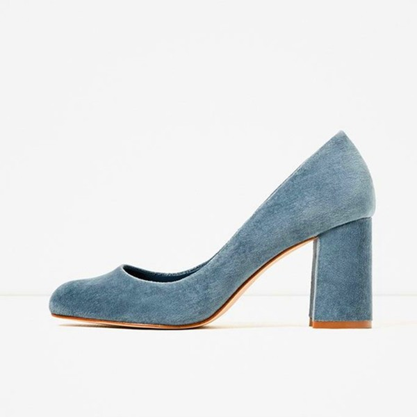 Blue Chunky Heels Suede Square Toe Pumps for Female image 1