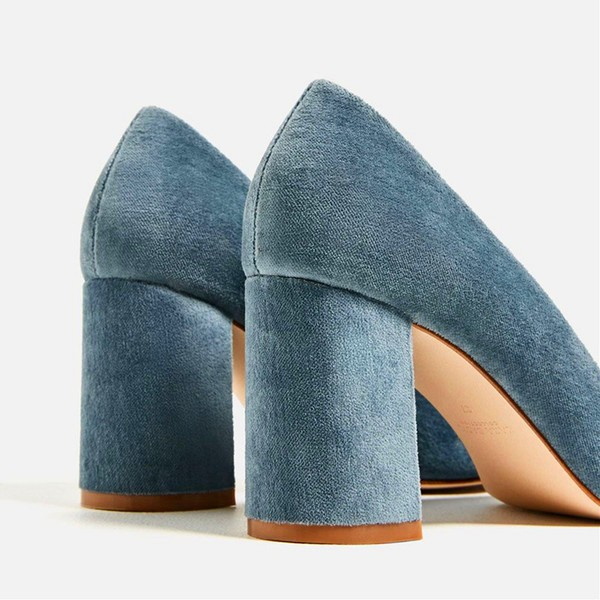 Blue Chunky Heels Suede Square Toe Pumps for Female image 4