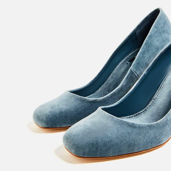 Blue Chunky Heels Suede Square Toe Pumps for Female image 2