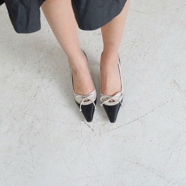 Women's Black Pointed Toe Vintage Kitten Heels Pumps Shoes image 2