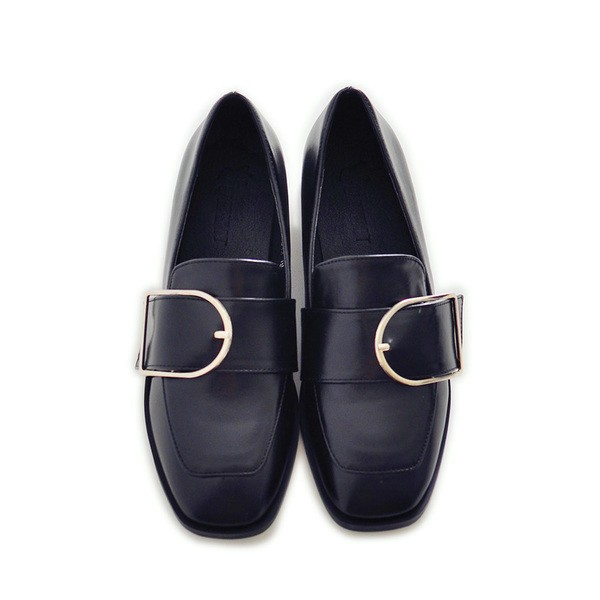 Black Square Toe Vintage Flat Loafers for Women US Size 3-15 image 3