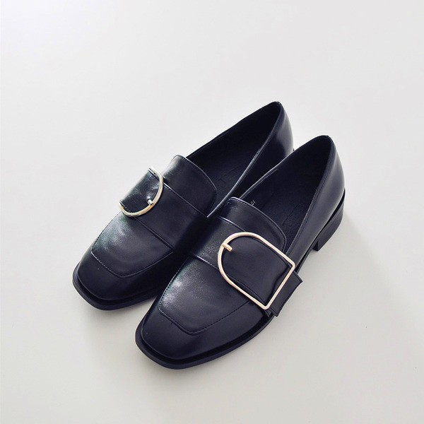 Black Square Toe Vintage Flat Loafers for Women US Size 3-15 image 2