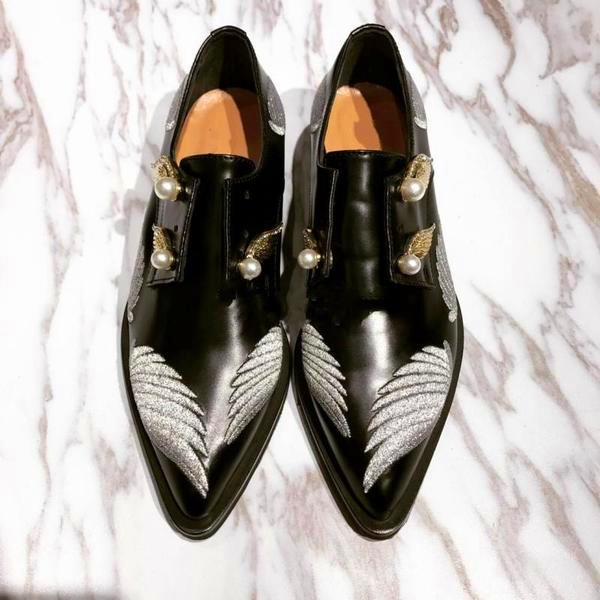 Black Vintage Shoes Slip-on Women's Oxfords with Wings and Pearls Embelishment image 2
