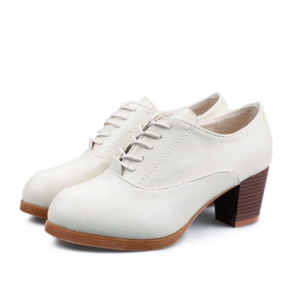 Women's Beige Round Toe Lace-up Pumps Wooden Heel Vintage Shoes image 1