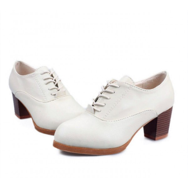 White Oxford Heels Round Toe Lace up Block Heel Vintage Shoes image 2
