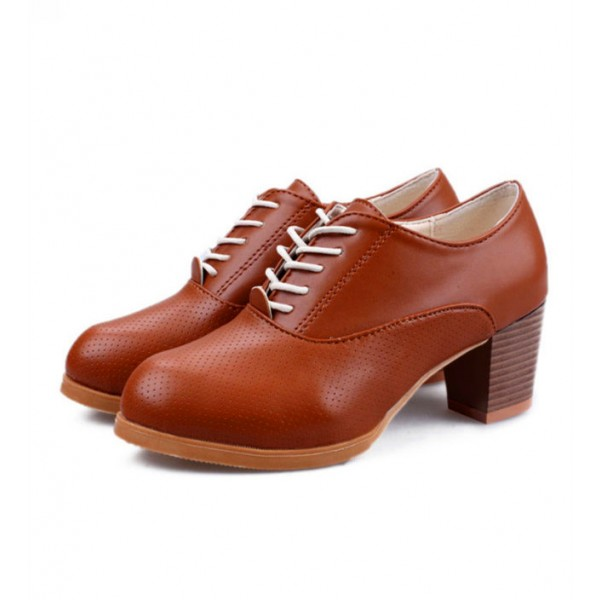 Women's Brown Round Toe Vintage Lace-up Pumps Chunky Heels Shoes image 1