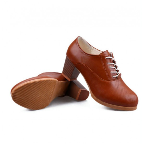 Women's Brown Round Toe Vintage Lace-up Pumps Chunky Heels Shoes image 2