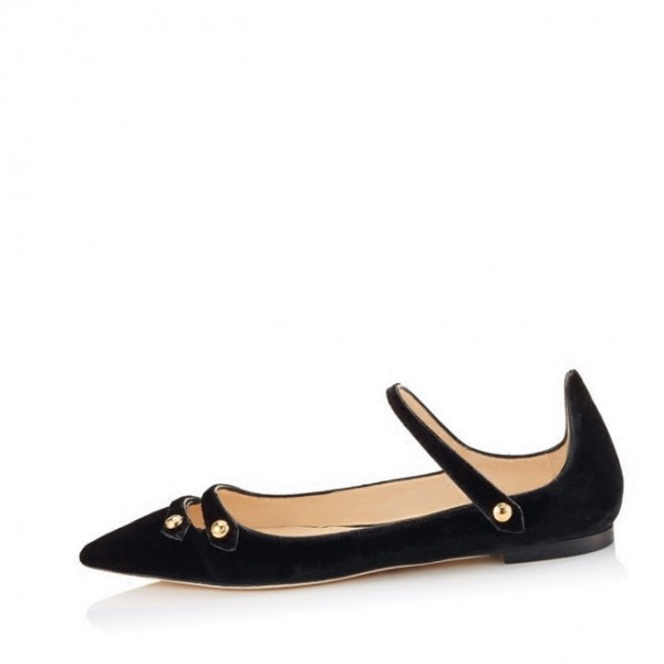 Black Mary Jane Shoes Suede Vintage Flats image 1