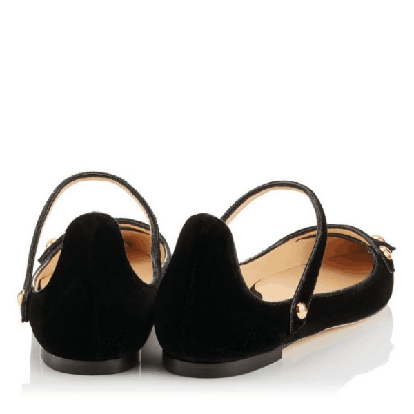 Black Mary Jane Shoes Suede Vintage Flats image 2