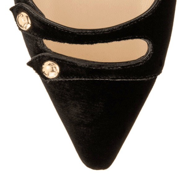 Black Mary Jane Shoes Suede Vintage Flats image 5