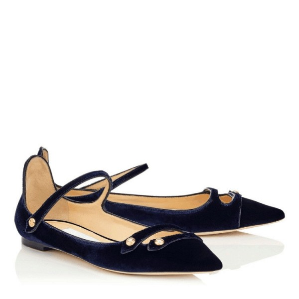 Navy Mary Jane Shoes Pointy Toe Suede Comfortable Flats image 2