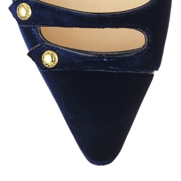 Navy Mary Jane Shoes Pointy Toe Suede Comfortable Flats image 4