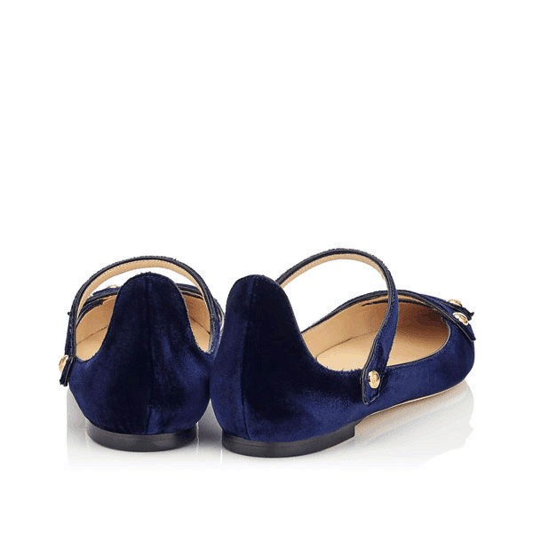 Navy Mary Jane Shoes Pointy Toe Suede Comfortable Flats image 3