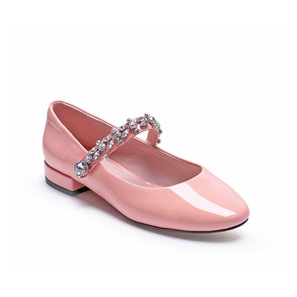 Pink Mary Jane Pumps Round Toe Rhinestone Flats for School image 2
