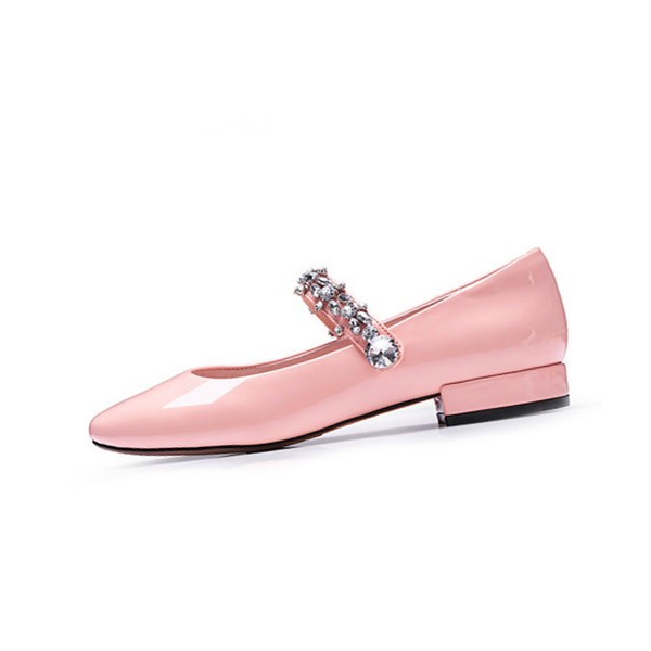 Pink Mary Jane Pumps Round Toe Rhinestone Flats for School image 3