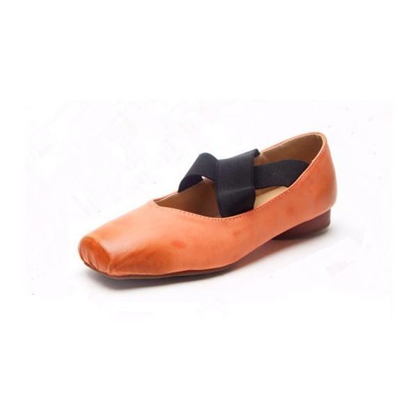 Women's Orange Square Toe Elastic Strap Comfortable Flats  image 1