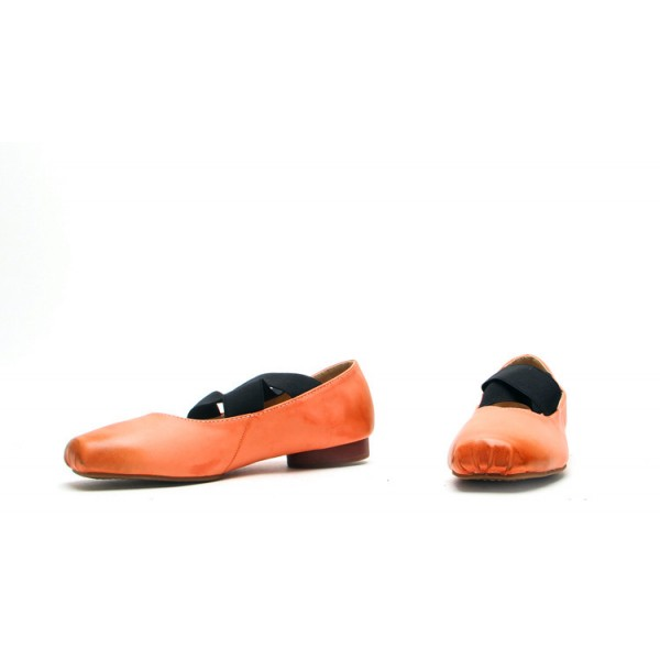 Women's Orange Square Toe Elastic Strap Comfortable Flats  image 2